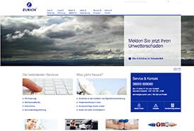 Screenshot: Webseite der Zurich-Versicherung